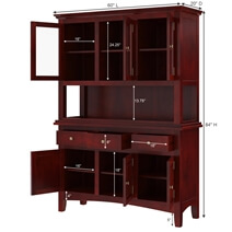 Barryton Solid Mahogany Wood Glass Door Dining Room Hutch