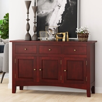Barryton Solid Mahogany Wood 3 Drawer Large Sideboard Cabinet