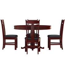 Garcia Mahogany Wood Round Dining Table Set For 4 People