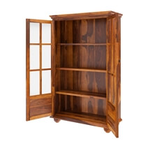 Askov 4 Shelf Wide Bookcase with Glass Door