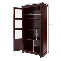 Altura 4 Shelf Mahogany Standard Bookcase with Glass Door