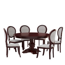 Aripeka Solid Mahogany Wood Round Dining Table With 6 Chairs Set