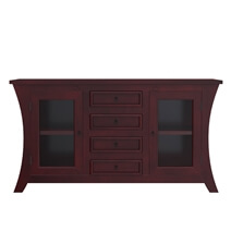 Aripeka Solid Mahogany Wood Glass Door 4 Drawer Large Sideboard