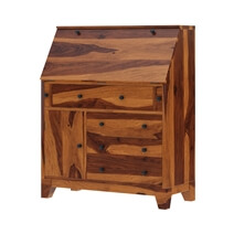 Cottondale Drop Front Rustic Solid Wood Home Office Secretary Desk