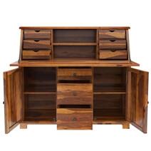 Weldona Rustic Solid Wood Drop Front Home Office Secretary Desk
