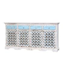 Vredenburgh Distressed Reclaimed Wood 4 Drawer Large Sideboard Cabinet