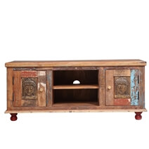 Winifred Distressed Reclaimed Wood Buddha Brass Inlay Media TV Stand