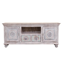 Titonka Rococo Inspired Reclaimed Wood 2 Drawer TV Media Stand Cabinet