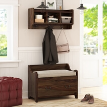 Sapinero Rustic Solid Wood Wall Hanging Hall Tree Bench with Storage