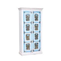 Autaugaville Handcrafted Brass Inlay 2 Door Reclaimed Wood Armoire
