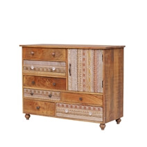 Hamlin Artistic Asymmetrical Reclaimed Wood 6 Drawer Rustic Dresser