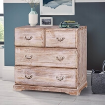 Shela Minimalist Distressed Reclaimed Wood Furniture 4 Drawer Dresser