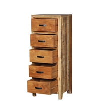 Allensville Reclaimed Wood 5 Drawer Tall Rustic Dresser
