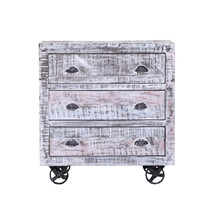 Stoutsville Reclaimed Wood Rolling 3 Drawer Industrial Chest