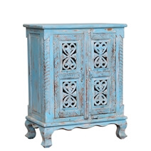 Varnado Distressed Blue Reclaimed Wood Handcrafted Storage Cabinet