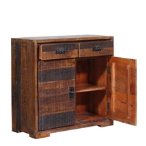 Beowawe Dual Toned Reclaimed Wood 2 Drawer Rustic Buffet Cabinet