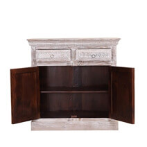 Alna Antique Distressed Reclaimed Wood 2 Drawer Small Buffet Cabinet
