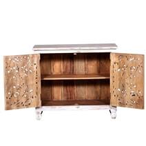 Anson Mandala Pattern Hand Carved White Washed Reclaimed Wood Storage Cabinet