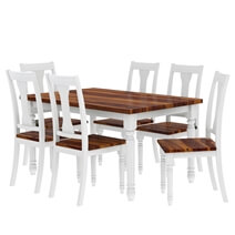 Proberta Two Tone Solid Wood 8 Piece Rustic Dining Room Set
