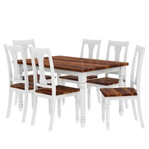 Proberta Two Tone Mahogany Wood Rustic Dining Table and Chair Set