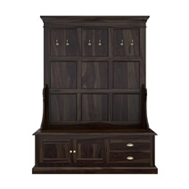 Schenevus Rustic Solid Wood 2 Drawer Hall Tree Bench with Storage