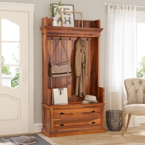 Titusville Rustic Solid Wood 2 Drawer Hall Tree Bench with Storage