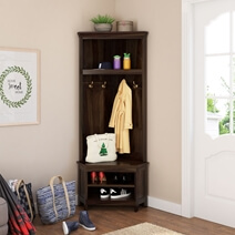 Savona Rustic Solid Wood Entryway Corner Hall Tree with Shoe Storage