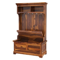 Owensville Rustic Solid Wood Entryway Hall Tree Bench with Storage