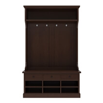 Perrysville Mahogany Wood Entryway Hall Tree with Shoe Storage