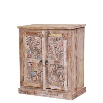 Sadieville Abstract Mosaic Distressed Reclaimed Wood Storage Cabinet