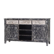 Garnett Distressed Reclaimed Wood Handcrafted 3 Drawer Large Sideboard