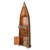 Ariton Reclaimed Wood 1 Drawer Tall Canoe Wine Rack w Cabinet