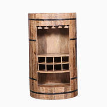Cylindrical Half Solid Reclaimed Wood Wine Bar Cabinet