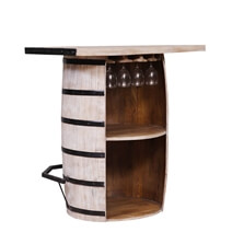 Boligee Distressed Reclaimed Wood Handcrafted Wine Bar Cabinet
