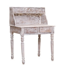 Auxvasse White Wash Reclaimed Wood Desk with Hutch