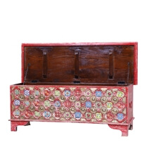 Watha Distressed Red Reclaimed Wood Brass Accent Storage Trunk