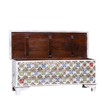 Bokoshe Distressed White Reclaimed Wood Brass Accent Storage Trunk