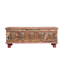 Boynton Reclaimed Wood Buddha Brass Inlay Storage Trunk