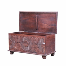 Belfonte Reclaimed Wood Hand Carved Storage Trunk