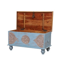 Shawnee Two Tone Reclaimed Wood Storage Trunk Chest