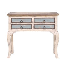 Tremont Distressed Reclaimed Wood 4 Drawer Console Hall Table