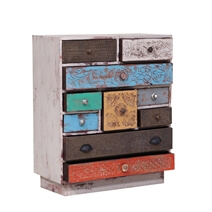Uniopolis Distressed Reclaimed Wood Multi Color 10 Drawer Dresser