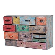 Bairdford Distressed Multi-Color Reclaimed Wood 13 Drawer Dresser