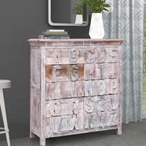 Auburntown Whiter White Distressed Reclaimed Wood 10 Drawer Dresser