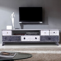 Arona Rustic Reclaimed Wood 6 Drawer Media Console Cabinet