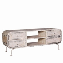 Leonard Whitewash Reclaimed Wood Iron Industrial TV Media Console