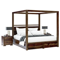 Farson Contemporary Storage Rustic Canopy Bed