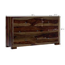 Farson Contemporary Solid Wood Long Bedroom Dresser With 7 Drawers