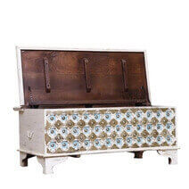 Virgil Distressed White Reclaimed Wood Brass Accent Storage Trunk