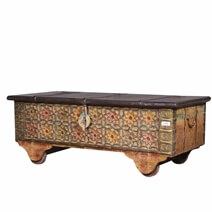 Tetonia Reclaimed Wood Hand Carved Flower Traditional Storage Trunk